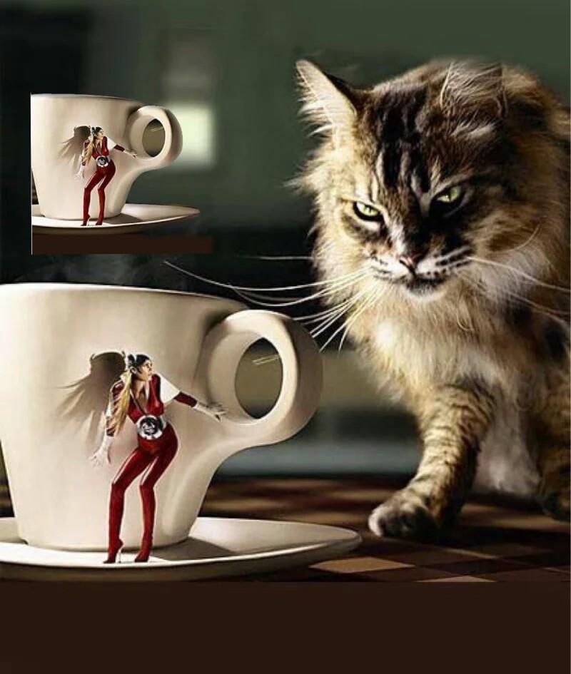 【funtouch os创意锁屏】大猫咪爱咖啡