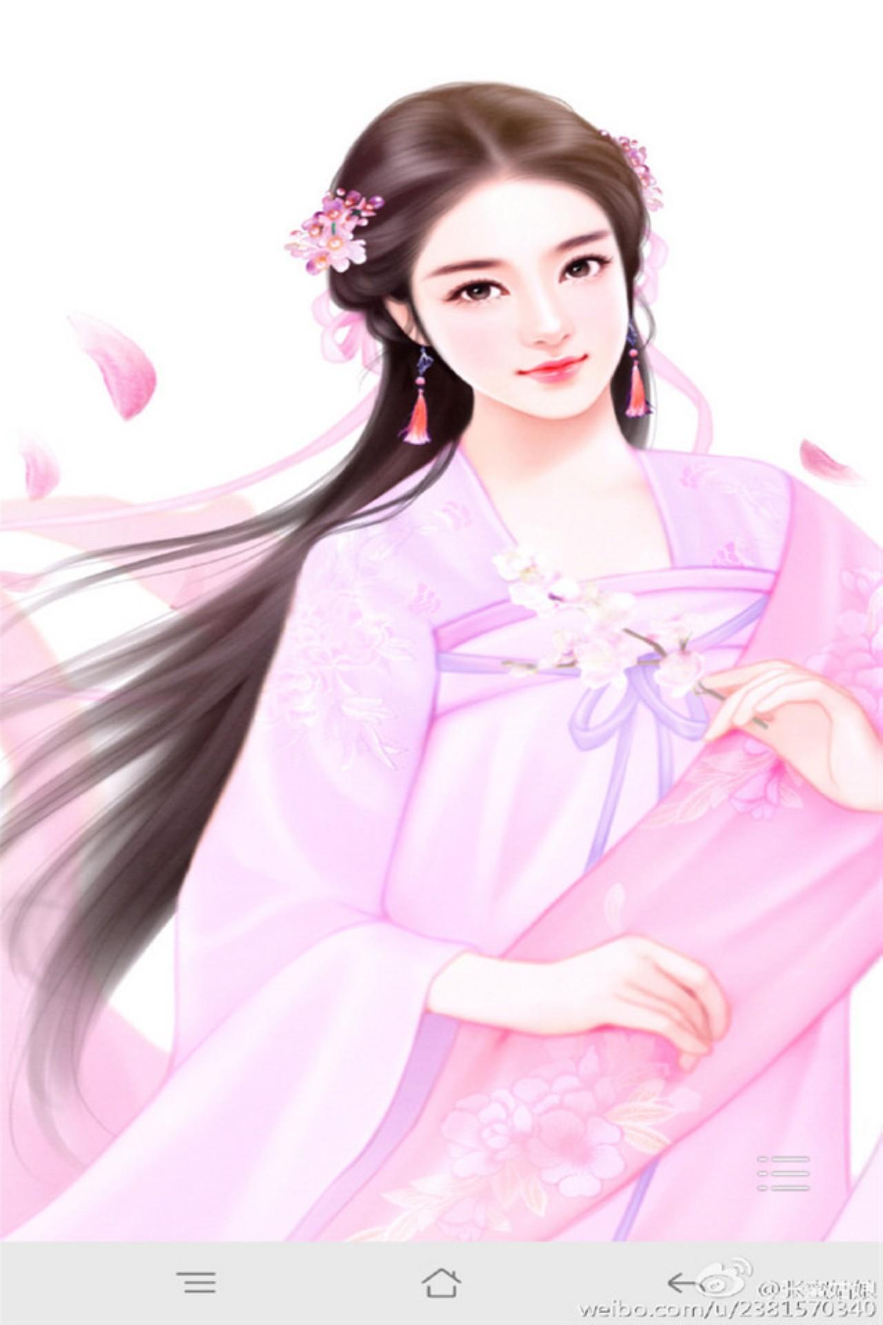 【1280x1920】小清新古装美女手绘图片手机壁纸