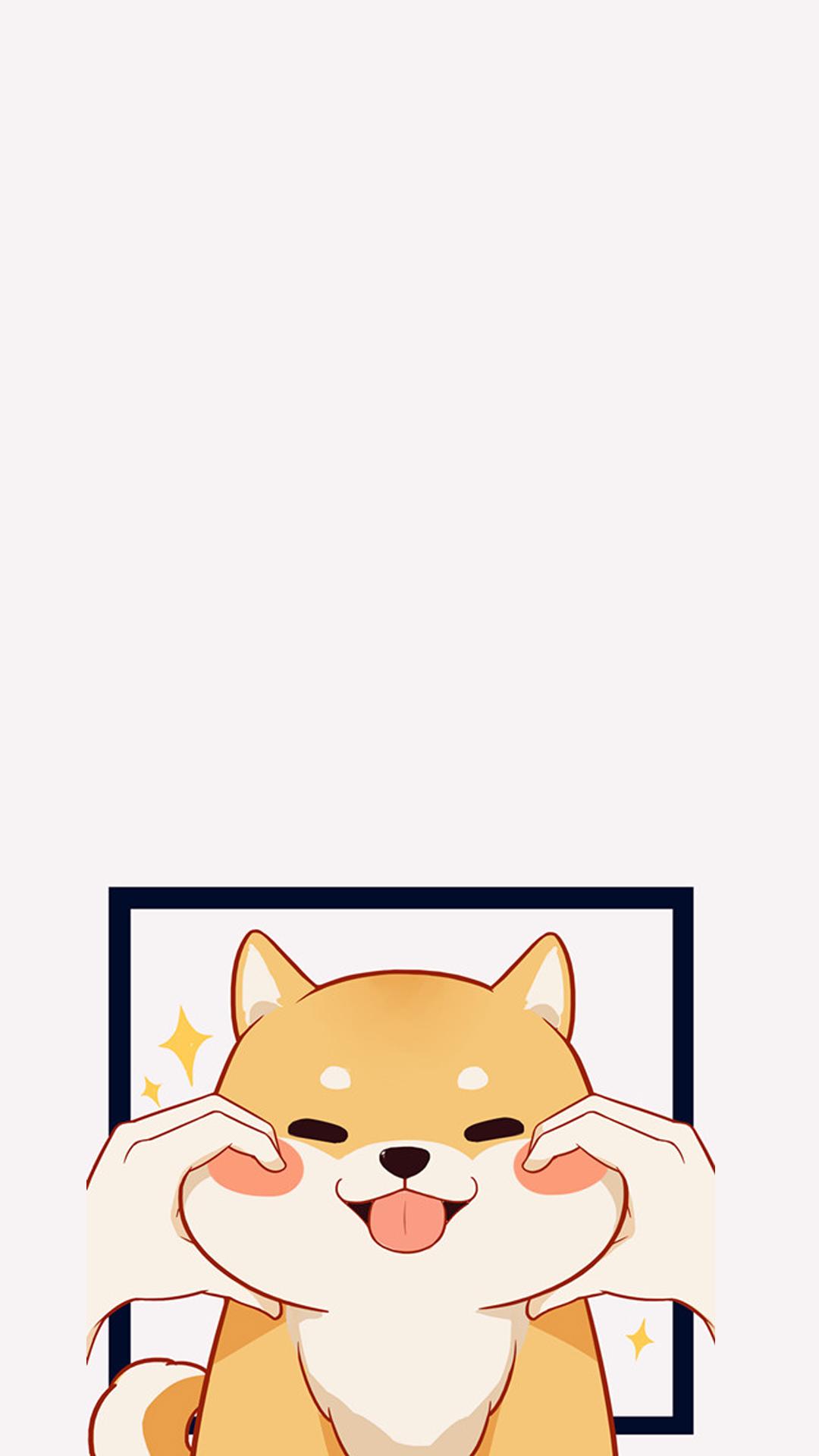 【v粉壁纸】可爱卡通柴犬手绘壁纸 【6p】