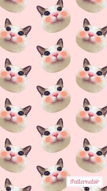【v粉壁纸】可爱的猫咪平铺图案