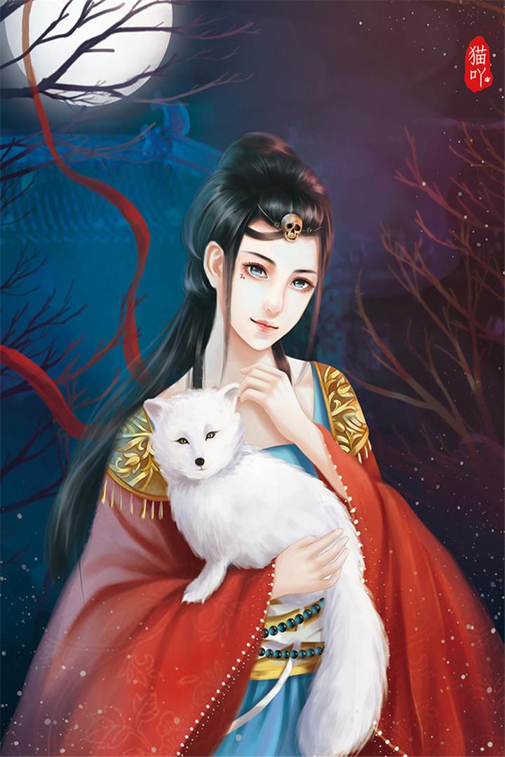 【v粉壁纸】手绘图片古风美女与动物唯壁纸