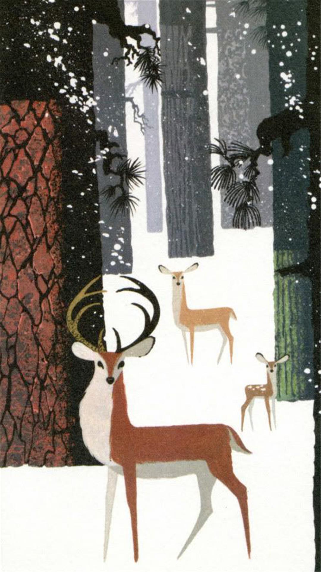 【v粉壁纸】森林麋鹿童话插画高清手机壁纸