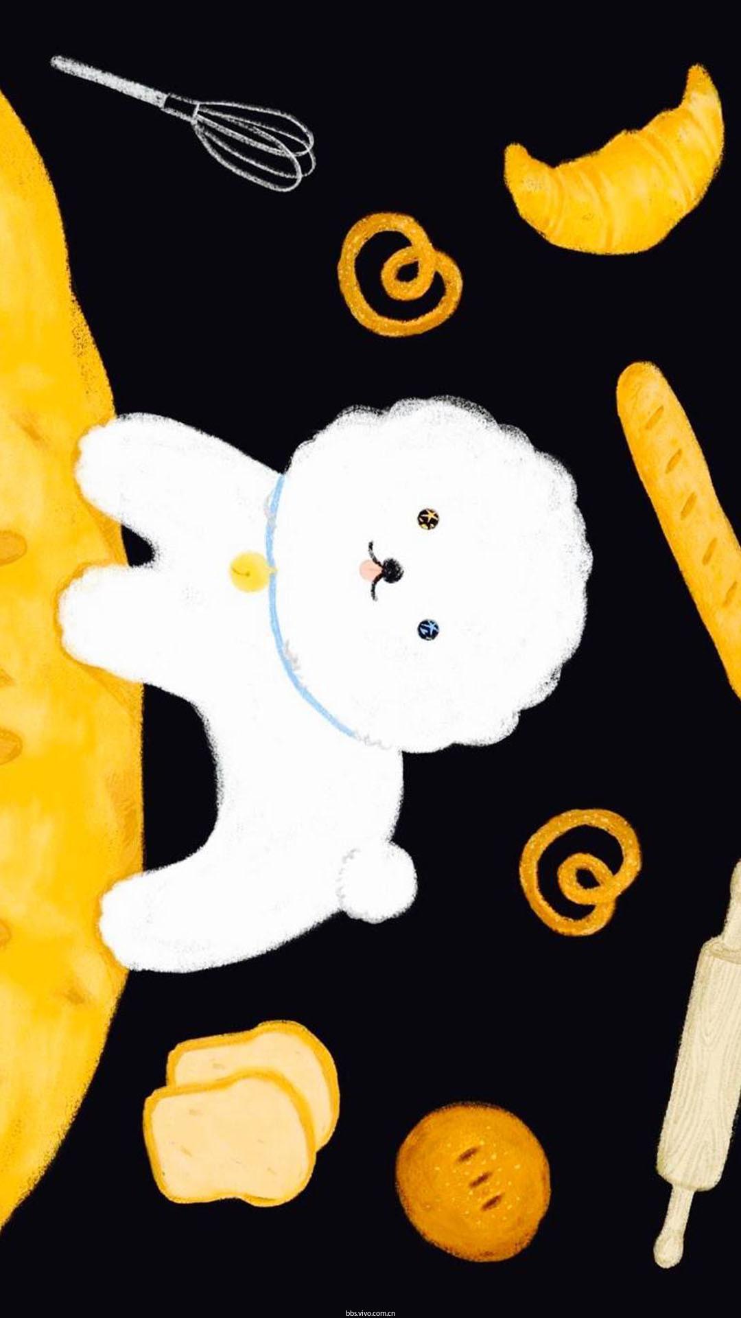 【v粉主题素材壁纸】可爱卡通小狗创意手绘高清手机壁纸