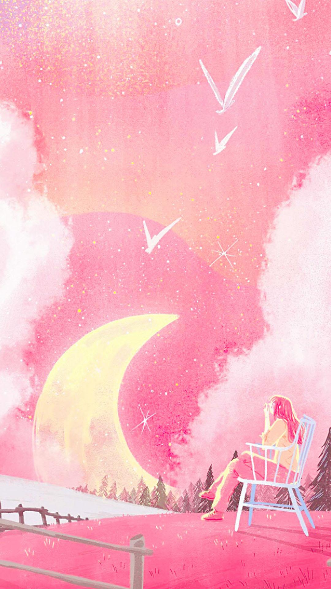 【v粉壁纸】唯美浪漫手绘插画图片手机壁纸
