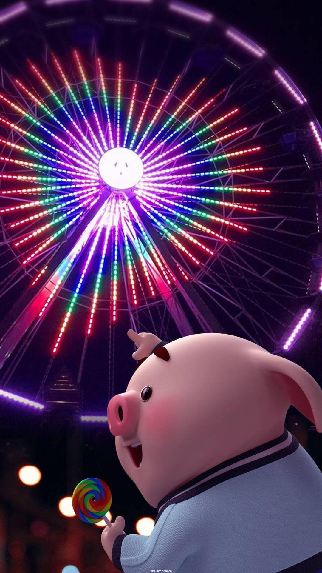 【v粉主题素材壁纸】可爱的卡通小猪唯美高清手机壁纸