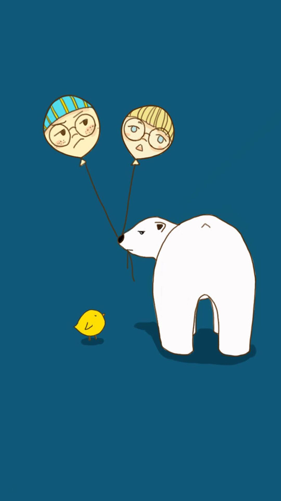 【v粉壁纸】卡通北极熊可爱高清桌面手机壁纸