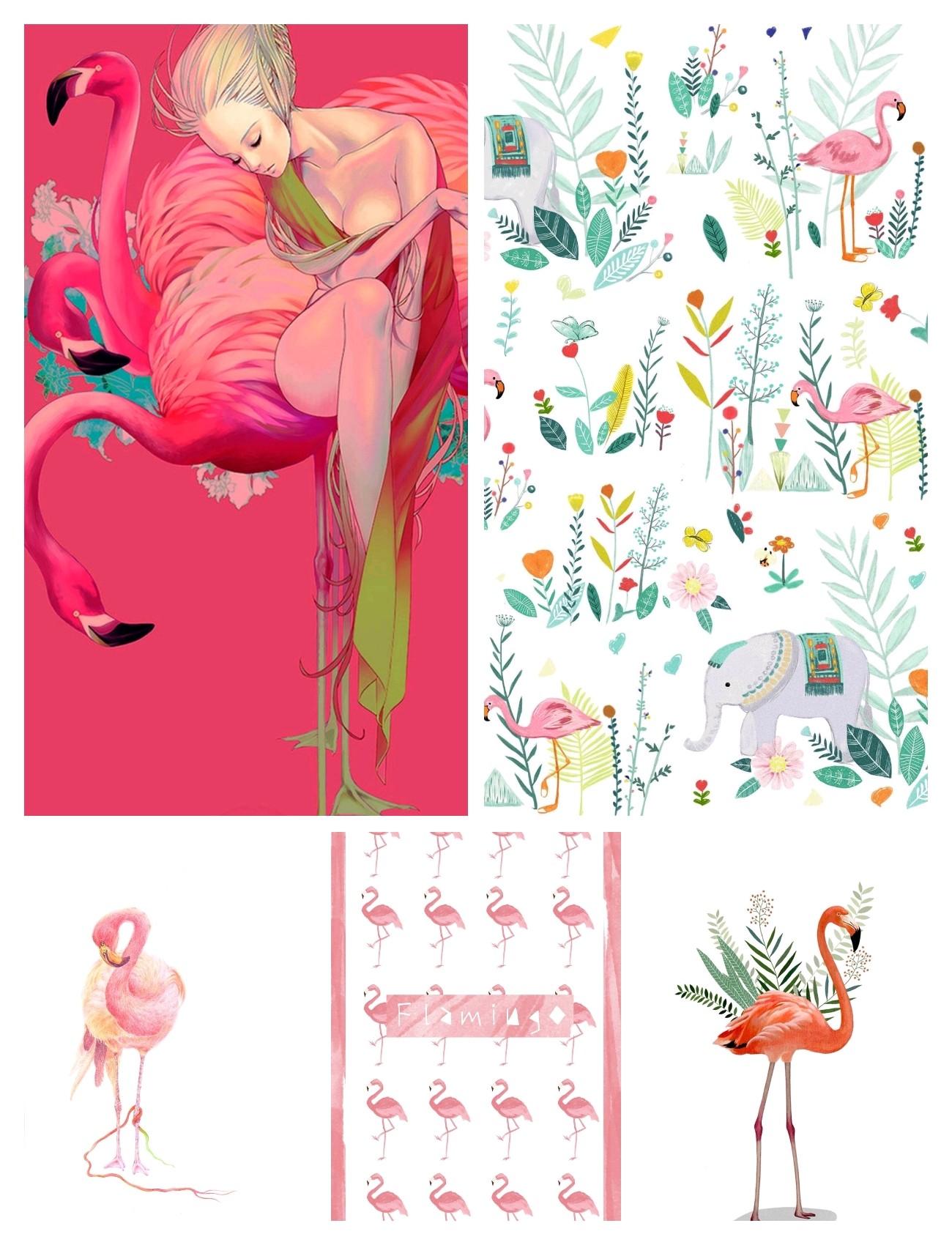 《v粉主题素材壁纸》手绘火烈鸟插画