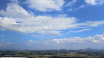 再蓝的天空!